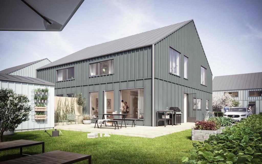 Nyproduktion av 52 parhus lägenheter om 140 kvm per lägenhet.